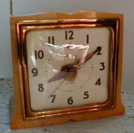 Antique Art Deco Clock, Electric Catalin Imp
