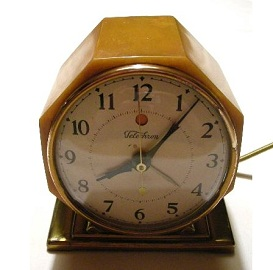 Antique Art Deco Clock, butterscotch catalin