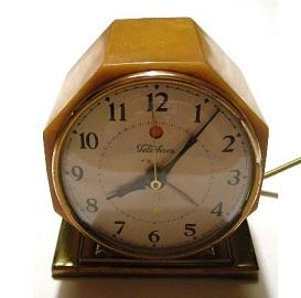 Antique Art Deco Electric Clock, butterscotch catalin
