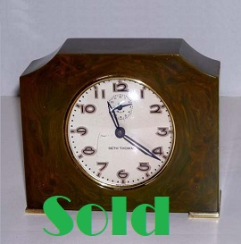 Antique Art Deco Clock, green catalin