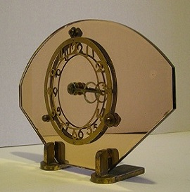 Antique Art Deco Clock, Pink Mirror