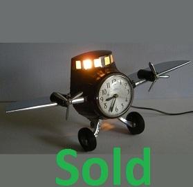 Antique Art Deco Clock, Bakelite Airplane