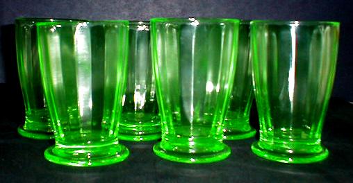 Green Vaseline        Glass Set