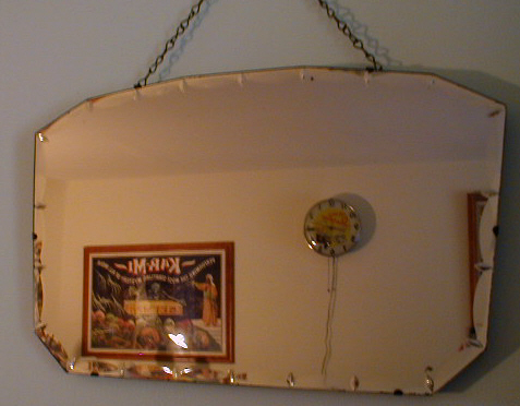 Art Deco Vintage Pink Wall Mirror