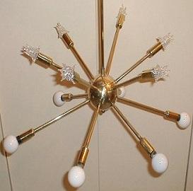 Vintage Art Deco Hanging Sputnik Lamp