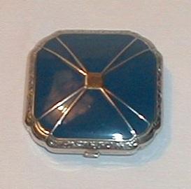 Antique Blue Enamel Compact
