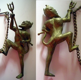 Antique Devil Fireplace Damper Pull