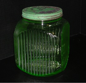 Green Glass Kitchen Jar