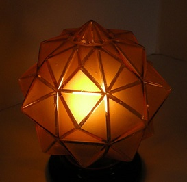 Antique Art Deco amber glass geometric lamp shade