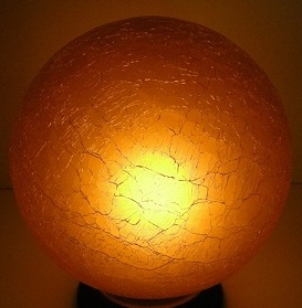 Antique Art Deco amber crackle glass lamp shade